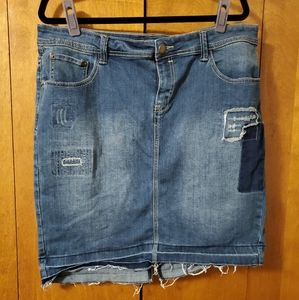 Lane Bryant distressed denim pencil type skirt
